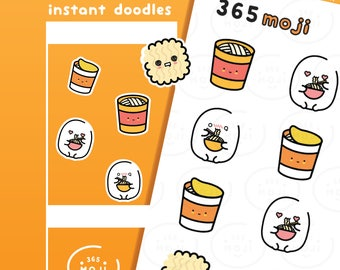 Ramen Instant Noodle Eating Food Stickers, Planner Stickers, Japanese Stickers, Korean Stickers, Cute Stickers, Diary Journal Sticker   R119