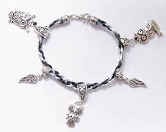 Charm bracelet silver owls and wings of angels, nickel and lead free
