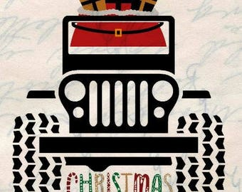 Jeep Svg, Christmas Svg, Christmas Tree Svg, Red truck Svg, Christmas Truck Svg, Cutting files for use with Silhouette Cameo and Cricut, SVG