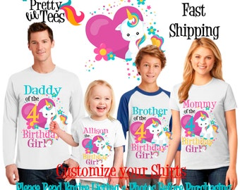 RAINBOW UNICORN Birthday Girl Theme Family WHITE Shirts For the Entire Family Mom Dad Brother and More T-shirts Long/ Short sleeve Raglan