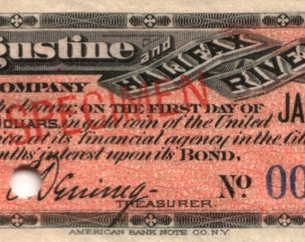 Excessively Rare Original 1888 St. AUGUSTINE FLORIDA RR Specimen Bond Coupon (25 Dollars Payaple in U.S. Gold)