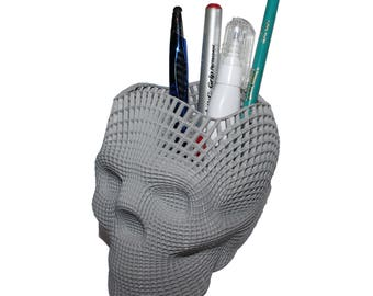 Wireframe Skull Pencil Holder