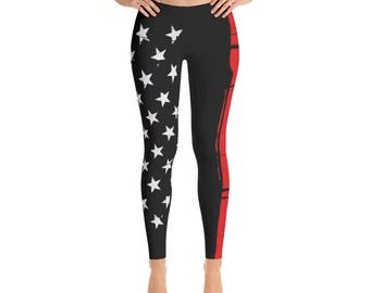 Firefighter Leggings - Thin Red Line American American Flag Leggings - thin Red line - Firefighter flag leggings - usa flag Firefighter