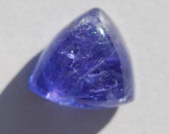 Tanzanite Cabochon, Royal Blue/Violet Color, Translucent, Triangle Shape, 12.6ct, 14.5 x 14mm