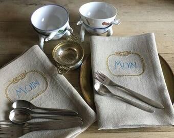 "Maritim Embroidered Fine linen napkin ""Moin"""