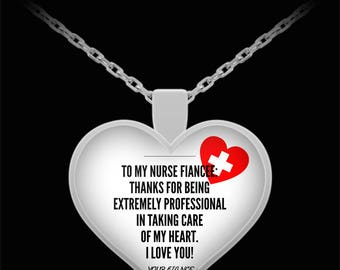To My NURSE FIANCEE! Heart Pendant Shape, Premium Silver Plated Necklace.
