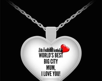 WORLD'S BEST Big City Mum! Silver Plated Necklace