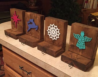 Christmas Rustic Stocking Holders - Set of 4