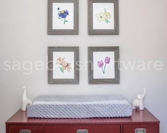 Flower Nursery Art - Personalized Baby Gift - Flower Prints - Children's Art - Girls Room Decor, Boys Room Wall Art - Watercolor Print Set