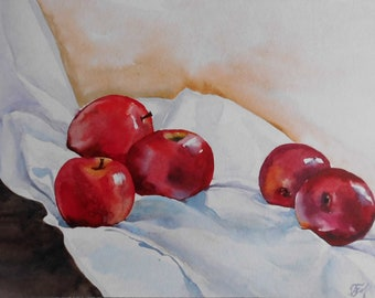 Fruit painting, Apple painting, Original Watercolor Apple painting, , Still Life, 11x16, Red apples, Kitchen Art, Fruit Wall Art.