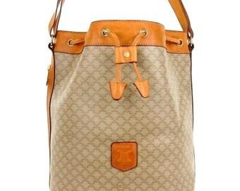 Authentic Vintage Céline Vintage Macadam Canvas Leather Noe Shoulder Bag Italy