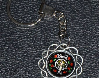 Blessed Be Candle, Rose and Pentagram Keychain: Antique Silver - 2.50 Shipping on any keychain purchase, Wicca, Pagan, Goddess, Witchcraft,