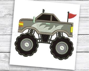 Monster Truck 4 Applique design - 4 SIZES machine embroidery design - INSTANT DOWNLOAD