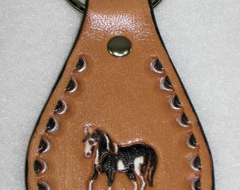 Paint Horse Key Chain,  Hand Tooled Leather Key Fob