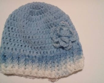Blue/White Crochet Adult Hat with Flower