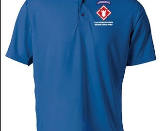 20th Engineer Brigade (Airborne)  Embroidered Moisture Wick Polo Shirt -6100