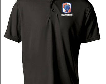 35th Signal Brigade Embroidered Moisture Wick Polo Shirt -8026