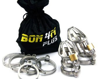BON4Mplus Male Chastity Device Solid Stainless Steel