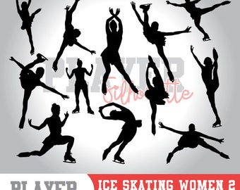 Ice Skating Women SVG, Ice Skating Sport svg, Ice Skating digital clipart, athlete silhouette, Ice Skating Women, cut file, design, A-045