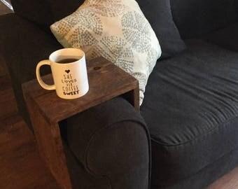 Handmade wood sofa armrest table