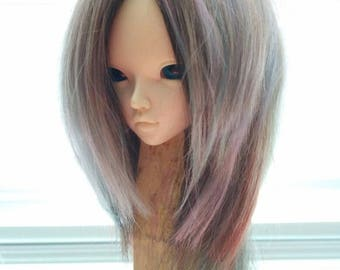"Goat wig , Wig for Minifee, bjd ,MSD ,MNF, 7-8"" wig,Size 7-8"", natural goat, minifee , wig minifee MSD"