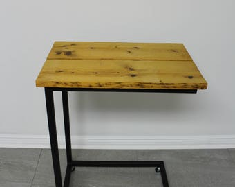 Side table made of recycled wood with wheels and steel structure / Table with caster / industrial Table / wood Table