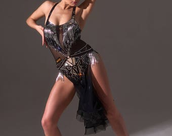 Black ballroom dress for dancing from a stretch mesh with mirrors and glass beads.