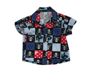 Baby Shirt 9-12 Months, Pirates, Front Button baby Shirt, Party Wear.