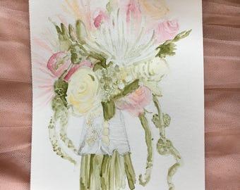 Custom Watercolor Bridal Bouquet