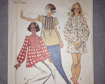 """Vintage Simplicity 6548 sewing pattern babydoll tunic mini dress  1970s Size 15/16 35"""" bust"""