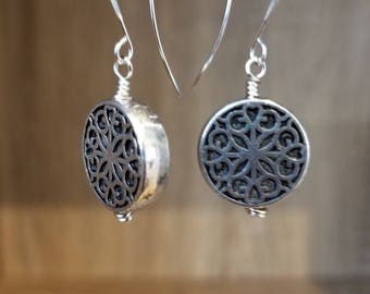 Silver Plated, Silver Filigree Earring