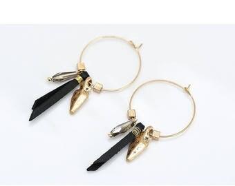 Women Trendy Gold Round Circle Hoop Earrings Vintage Black Leather Glass Bead Pendant Hoop Earrings Jewelry