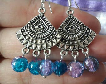 Earrings with crystal beads