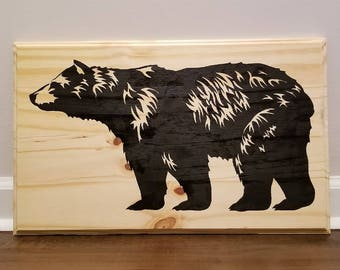Hand Painted Wood Bear Sign