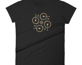 Women's short sleeve Retro Geometric Bike t-shirtAll designs from Rowdy Grouse are original and home grown.