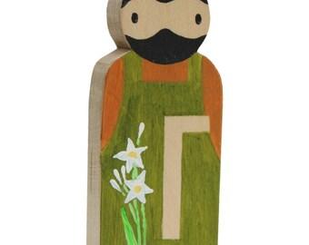Saint Joseph the Worker Pocket Saint / Wooden Catholic Saint Toy