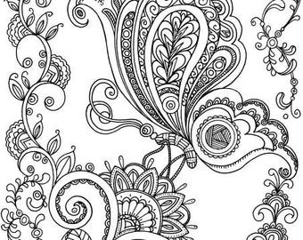 on a flower printable adult coloring page from favoreads coloring book pages for adults - Coloring Design Pages