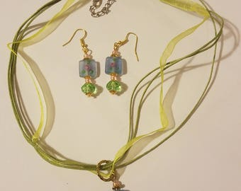 Blue/green glass bead necklace and earring set