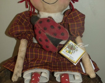 Primitive Raggedy with Lady Bug Doll
