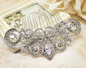 Bridal hair comb, bridal headpiece, crystal hair comb, hair jewelry, vintage hair comb, rhinestone hair comb, bridal hair jewelry