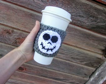 Crochet Coffee Cozy with Jack Skellington / Reusable Coffee Sleeve / Coffee Sleeve / Cup Cozy