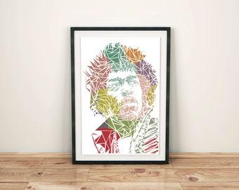 Jimi Hendrix Unique Contemporary Geometric Art print in size A4 or A3