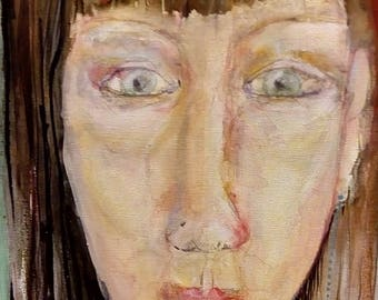 """Original Painting """"Vanessa"""" on canvas by North West Artist Claire Kay. Mixed media 80x30cm"""