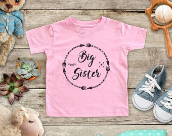 Big Sister boho arrows circle surprise baby pregnancy - Baby bodysuit or Toddler Shirt or Youth Shirt - cute birthday baby shower gift