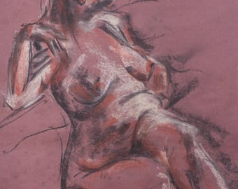 Charcoal Life Drawing Figure - Print