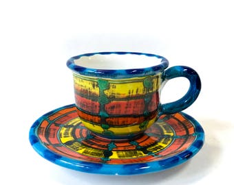 Multicolor coffee cup with saucer