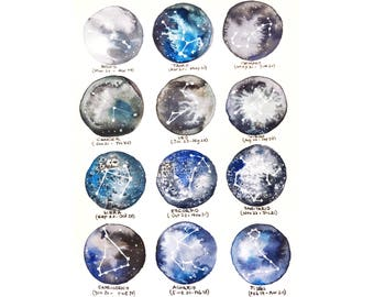 Original Watercolor Constellations-extraterrestrial series. Sheet to frame without copies.
