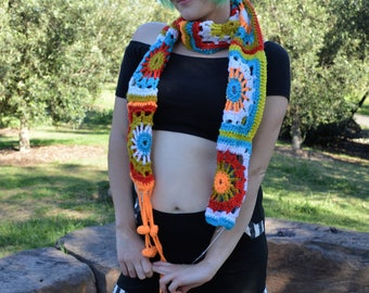 Hand Crochet Multi Colour Scarf . Doof. Boho