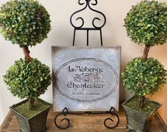 "French Country, Home Decor, Wall Art, ""L'Auberge Chantecleer"", Swarovski Crystals, Bathroom Decor, Kitchen Decor, Bedroom Decor"