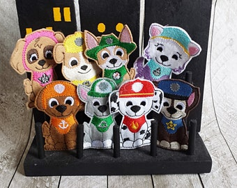 Rescue Puppy, Paw, Hero, *SAVE WITH SET* Working Dog, Patrol, Inspired Finger Puppets, Felt Travel Toy, Puppet, Pretend Play, Imagination